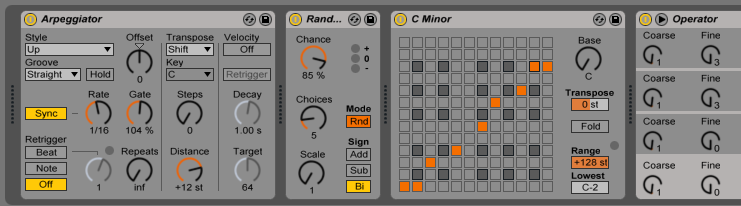 The MIDI effects used to produce the sounds