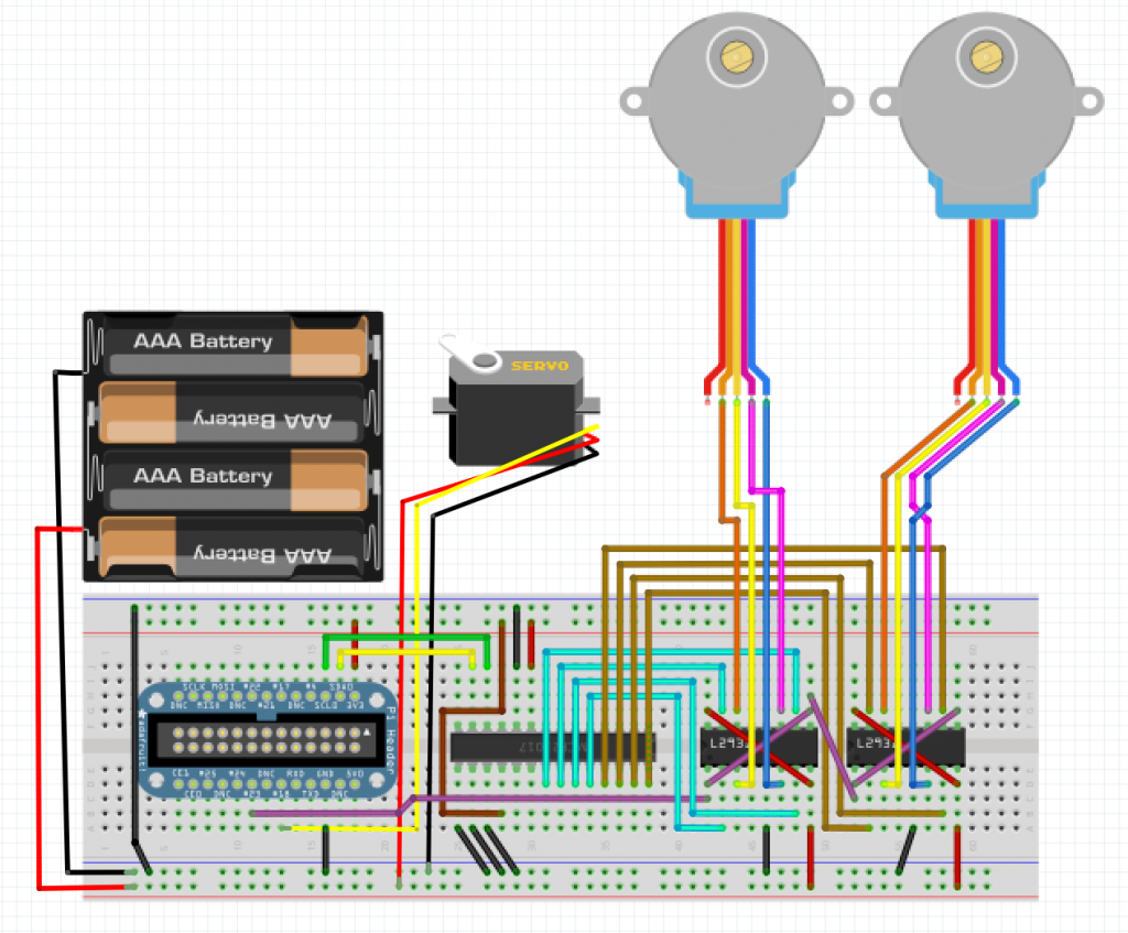 The breadboard design, made with Fritzing.